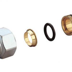 Соединитель латунь для медных труб обжим Дн 12x18 ВР с базой 18мм R178 Giacomini R178X032