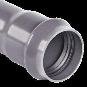 Труба НПВХ серая раструбная SDR26 Дн 110х4,2 Ру10 напорная 45С L=6м в/к Хемкор цена за м.