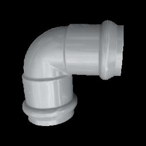 Отвод НПВХ серый двухраструбный SDR26 Дн 110х90гр Ру10 напорный в/к